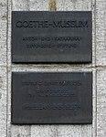 Schloss Jägerhof, Bronzetafel Goethe-Museum.jpg