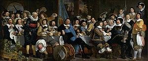 Banquet of the Amsterdam Civic Guard in Celebration of the Peace of Münster - Image: Schuttersmaaltijd ter viering van de Vrede van Munster Rijksmuseum SK C 2