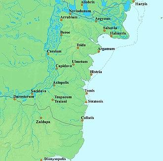Bastarnae - Map of Scythia Minor (Dobruja), showing the Greek coastal cities of Histria, Tomis, Callatis and Dionysopolis (Istria, Constanţa, Mangalia and Balchik).