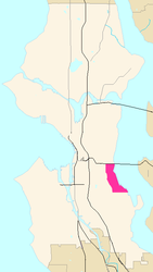 Map of Mount Baker's location in Seattle