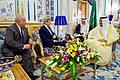 Secretary John Kerry, Joined by U.S. Ambassador Joseph Westphal, Sits With Saudi King Salman at the Royal Court in Jeddah (26420974594).jpg