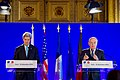 Secretary Kerry Listens as French Foreign Minister Jean-Marc Ayrault Addresses Reporters During a News Conference After Convening a Multinational Meeting Focused on Syria (30744673333).jpg