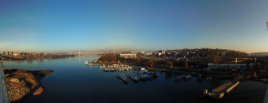 Serbia, Belgrade, 180 deg panorama of sight from Ada Bridge's downstream side, 02.01.2012.jpg