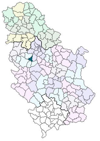 Pridvorica (Lajkovac) - Location of the municipality of Lajkovac in Serbia