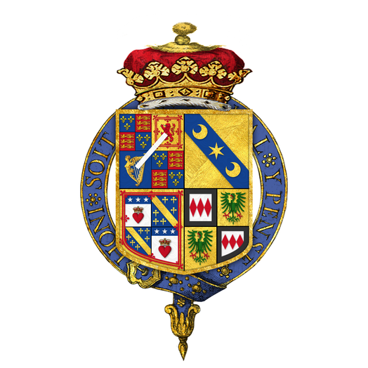 Garter encircled arms of William Montagu Douglas Scott, 6th Duke of Buccleuch, KG, as displayed on his Order of the Garter stall plate in St. George's Chapel. Shield of arms of William Montagu Douglas Scott, 6th Duke of Buccleuch, KG, KT, PC, JP, DL.png