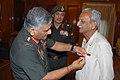 Shri Narain Singh Ujwal, a senior citizen of Jodhpur, being awarded with COAS Commendation by the Chief of Army Staff, General V.K. Singh, in New Delhi on May 02, 2012.jpg