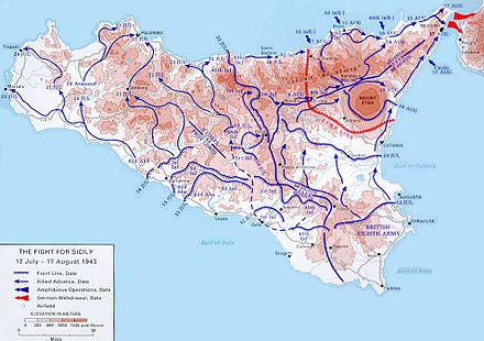 Map of Allied movements on Sicily during July. Sicilymap2.jpg