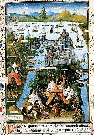 Bertrandon de la Broquière - The Fall of Constantinople in 1453, from a manuscript of Bertrandon's Voyage (Bibliothèque nationale de France MS fr. 9087 (f. 207v), made in Lille in 1455)