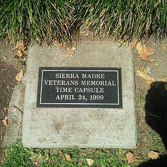 Sierra Madre Memorial Park - Image: Sierra Madre Veterans Time Capsule
