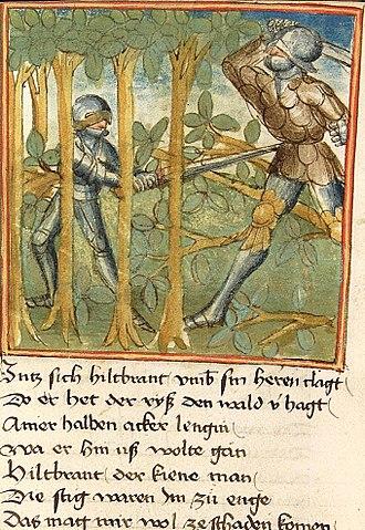Sigenot - Sigenot destroys the forest fighting Hildebrand. Cpg. 67 fol. 77v.