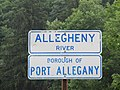 Signs at the bridge where Route 155 joins Route 6, Port Allegany, PA.jpg