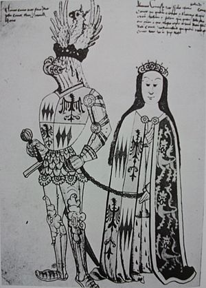 Eleanor Holland, Countess of Salisbury - Eleanor Holland and her husband, Sir Thomas Montacute. (Wrythe Garter Book)