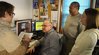 Skeptical Inquirer - Skeptical Inquirer production staff in 2016. From left: Julia Lavarnway, Chris Fix, Paul Loynes, Nicole Scott