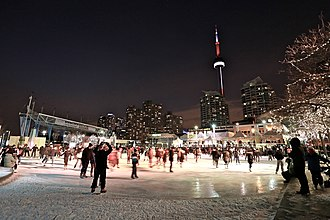 Harbourfront (Toronto) - Skating outside Harbourfront Centre. The centre is a cultural organization established by the federal government, at Harbourfront.