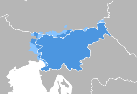 The approximate territorial distribution of the Slovenian language, and thus the Slovene lands as traditionally defined, shown in blue Slovenes distribution map.png