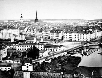 German Church, Stockholm - Photo from 1865 showing the old spire.