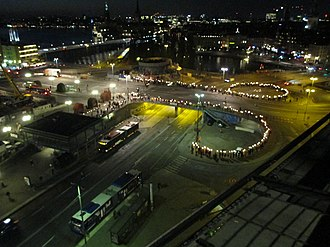 Demonstration (political) - Stockholm, 2015: protesters demonstrate against the city's new drastic plans for the Slussen area and interchange