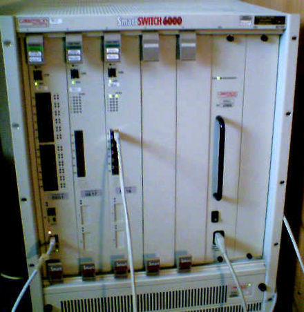 A modular network switch with three network modules (a total of 24 Ethernet and 14 Fast Ethernet ports) and one power supply. Smartswitch6000.jpg
