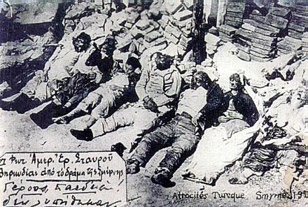 On 4 November 1992, the Holy Synod of the Church of Greece unanimously declared Christians that were tortured and massacred by the Turks in the Great fire of Smyrna in 1922 as saints. Smyrna-massacre greeks-killed line.jpg