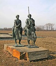 St. Adalbert (Vojtech) and his brother Gaudentius (Radim);  Monument in Libice, Bohemia