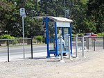 Sonoma County Transit bus stop at Sonoma County Airport station, August 2018.JPG