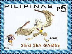 Southeast Asian Games 2005 stamp of the Philippines Arnis.jpg