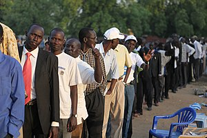 State formation - Voters waiting in line to vote in South Sudan (2011) to decide whether to form a new state or remain with Sudan
