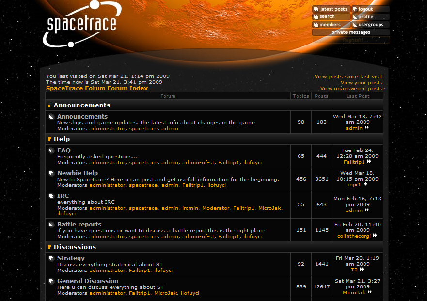 Spacetrace forum