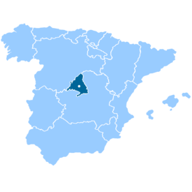 Location of Madrid Community within Spain. (Capital also shown.)