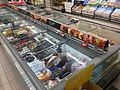Spar Supermarket in Fusa, Hordaland, Norway 2018-03-21. Chest freezers with glass lids for frozen meat, etc. B.jpg