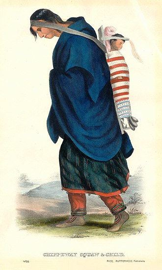 Tumpline - Native American woman using a tumpline