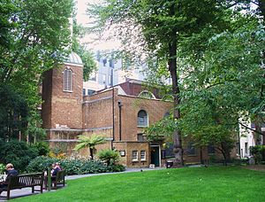 St Botolph's, Aldersgate - St Botolph's viewed from Postman's Park, part of which was formerly the parish churchyard.