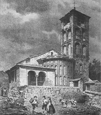 Antonio de Herrera y Tordesillas - Church of Santa Marina, of which only the tower remains. Drawing by Francisco Javier Parcerisa in 1865.