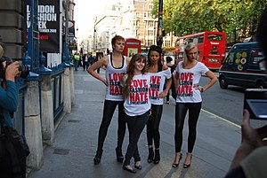 War on Want - Stacey Dooley, second from left, campaigner against sweatshops since her appearance in the BBC television series Blood, Sweat and T-Shirts.