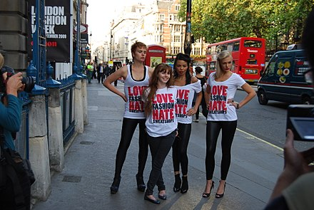 Stacey Dooley, second from left, campaigner against sweatshops since her appearance in the BBC television series Blood, Sweat and T-Shirts. Stacey Dooley at War on Want event.jpg