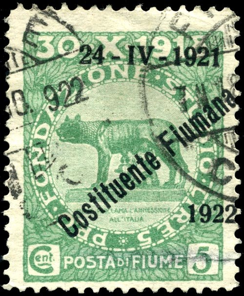 Stamp Fiume 1922 5c ovpt