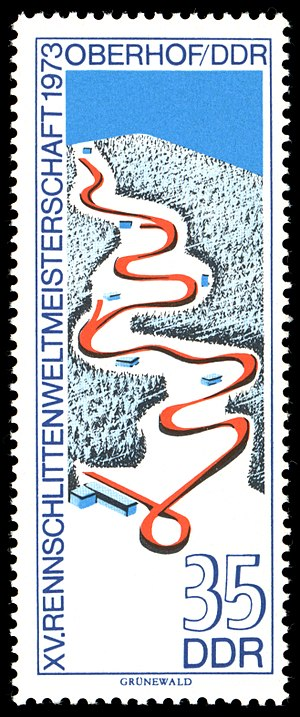 Oberhof bobsleigh, luge, and skeleton track - East German stamp showing the Oberhof track used for the FIL World Luge Championships 1973.