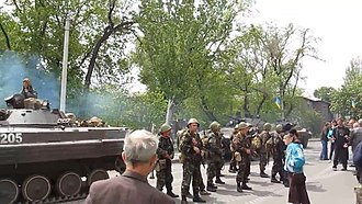 Battle of Mariupol (May–June 2014) - Confrontation in Mariupol between Ukrainian forces and bystanders.