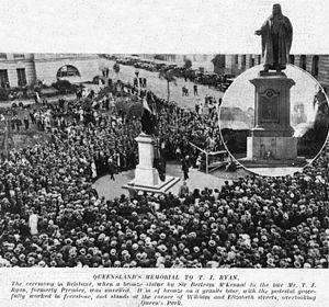 Queens Gardens, Brisbane - Unveiling the statue of TJ Ryan, 1925