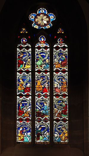 Vice - Virtues fighting vices, stained glass window (14th century) in the Niederhaslach Church