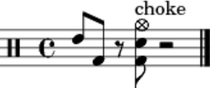 Sting (percussion) - An advanced sting in percussion notation