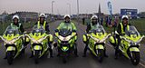 St John livered ambulance motorcycles parked at the blue start for Virgin London Marathon 2010