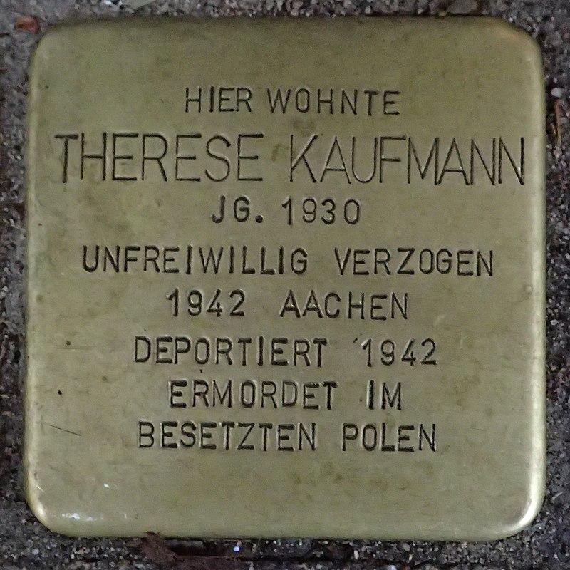 Stolperstein für Therese Kaufmann