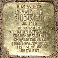 Photo of Charlotte Glückstein brass plaque