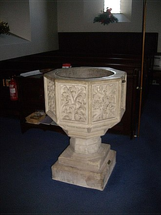Childhood in Scotland in the Middle Ages - Stone font in St Ternan's Church, Banchory