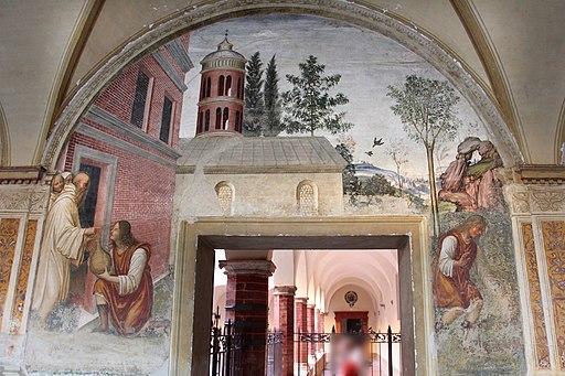 Il Sodoma, Le storie di San Benedetto Scena 17 - Come benedetto converte in serpe un fiasco di vino nascostogli da un garzone