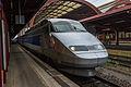 Strasbourg Gare Centrale voies 2 3 rames TGV 19 août 2013 01.jpg