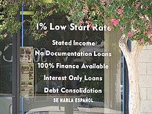 Pubblicità di un mutuo subprime negli Stati Uniti