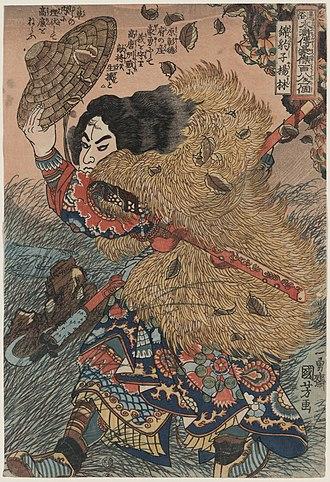Water Margin - Yang Lin, a hero from the novel, from Utagawa Kuniyoshi's series of woodblock prints illustrating the 108 Suikoden.