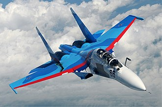 Defense industry of Russia - A Sukhoi Su-30 of the Russian Air Force in flight over Russia in June 2010. Sukhoi fighters are popular export products of the Russian military industry.